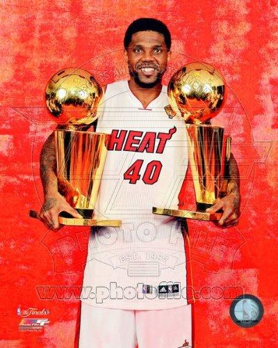 Udonis Haslem Miami Heat NBA Championship Trophies 8x10 Photo (Heart Heat Miami)