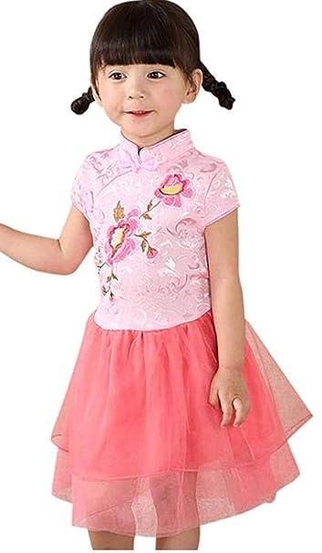 4e6a3ed70ca CRB Fashion Girls Chinese New Years Dress Toddler Kids Cheongsam Tutu Party  Dress (Pink