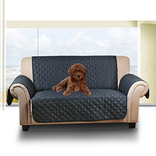 Auralum Reversible Quilted Sofa Furniture Protector for Kids Pets Couch Cover Slip Cover with Elastic Strap ,66' x 44',Loveseat, Dark blue/Light blue.