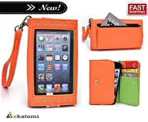 Alcatel OT-838 Case | Universal Women's Wallet Clutch with Frosted Screen Protector - ORANGE & GREEN [Expose]. Bonus Ekatomi Screen Cleaner*