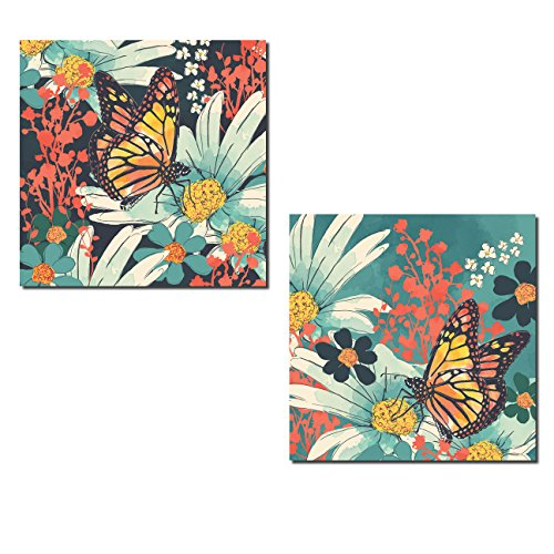 Beautiful Watercolor-Style Monarch Butterfly and Flowers; Two 12x12in - Coral And Yellow Decor