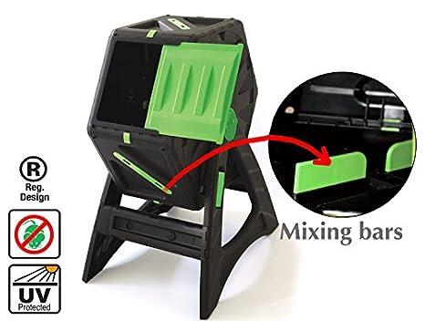 Compostador autogiratorio de 70 litros Fácil de ensamblar Plástico muy resistente y con protección UV adecuado para ser usado durante todo el año: ...