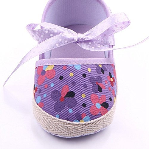 etrack-online bebé niña prewalers Mary Jane zapatos de suela suave antideslizante Floral lavanda Talla:12-20months lavanda