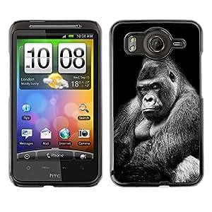 TopCaseStore / la caja del caucho duro de la cubierta de protección de la piel - Ape Gorilla Black White Meaning - HTC G10