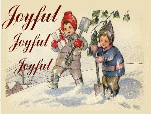 Joyful, Joyful Metal Sign, Vintage Christmas Scene, Children Playing in the Snow
