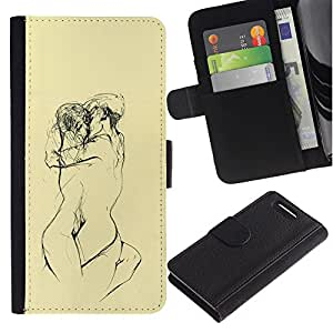 Be-Star la tarjeta de Crédito Slots PU Funda de cuero Monedero caso cubierta de piel Para Sony Xperia Z1 Compact D5503 ( Yellow Lovers Sketch Pencil Naked )