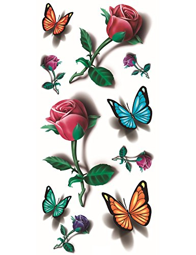 Kaimu New Teens Guys Men Women Waterproof 3D Butterfly Tattoo Stickers for Arms Shoulders Chest Temporary Tattoos -