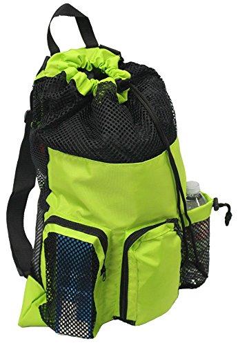 Adoretex Big Mesh Equipment Sport Drawstring Gym Swim Bag - UMB001 - Green