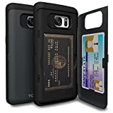 Galaxy S7 Edge Case, TORU [S7 Edge Wallet Case] Protective Slim Fit Dual Layer Hidden Credit Card Holder ID Slot Card Case with Mirror for Samsung Galaxy S7 Edge - Metal Slate