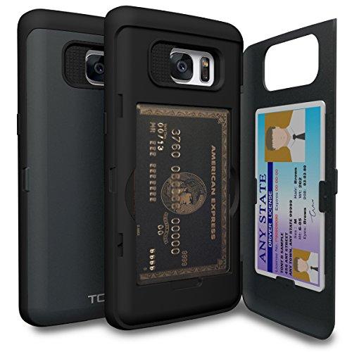 TORU CX Pro Galaxy S7 Edge Wallet Case Dark Blue with Hidden ID Slot Credit Card Holder Hard Cover & Mirror for Samsung Galaxy S7 Edge - Metal Slate