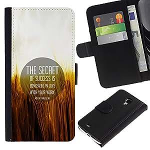 KingStore / Leather Etui en cuir / Samsung Galaxy S4 Mini i9190 / Secreto Cita Motivación ?xito Amor Vida Laboral