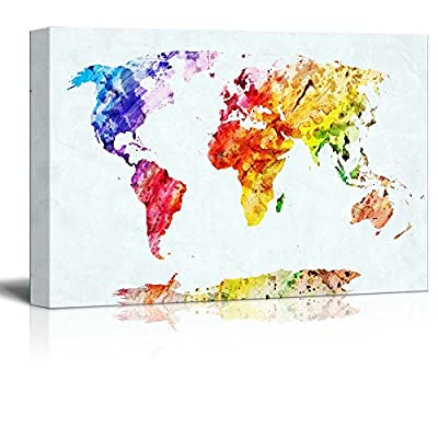 Watercolor Style World Map Wall Decor
