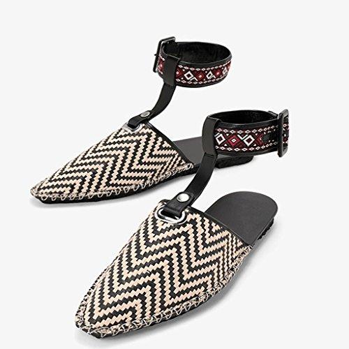 Color Punta Beige Zapatos Femenino LIUXUEPIG 36 Casuales Viento Sandalias Nacional Tamaño Beige Planos Desmontables Removible De 5xx7PHq