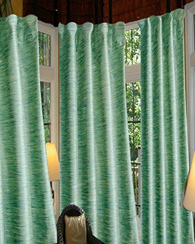 Cheap Heavy faux silk dupion room darkening curtain/panel/drape (Green, 52″W X 96″L)
