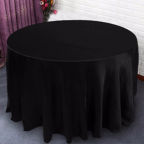 Black Feather Sparkle Broom (BUNITA, White Round Tablecloth Table Cover 100% Polyester - Professionally Hemmed,tablecloth hemstitch (90 Llnch, Black))