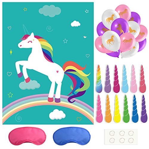 FEPITO Pin The Horn on The Unicorn Birthday Party Game with 24 Horns and 15PCS Unicorn Balloons for Unicorn Party Supplies, Kids Birthday Party Decorations -