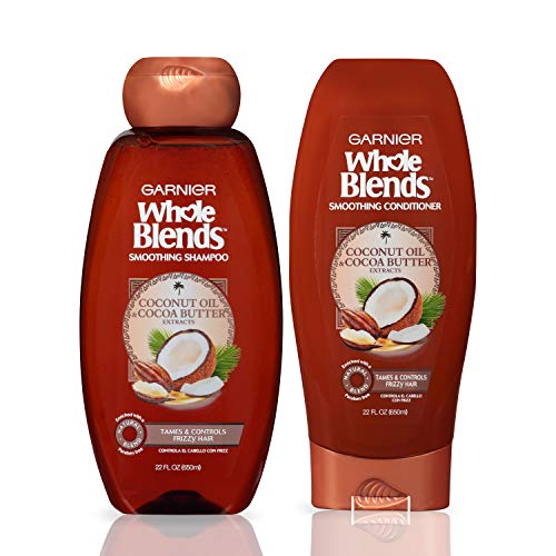 Garnier Hair Care Whole Blends Smoothing Coconut Oil and Cocoa Butter Extracts Shampoo and Conditioner, For Frizzy Hair 44 Fl Oz