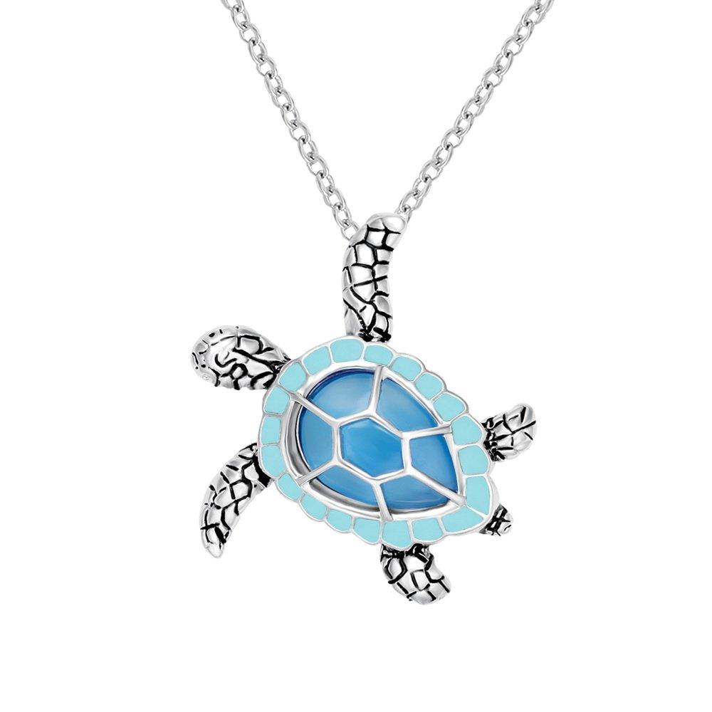CHUANGYUN Health Longevity Mutli-Colored Luminous Summer Sea Turtle Pendant Necklace 18'' (Blue)