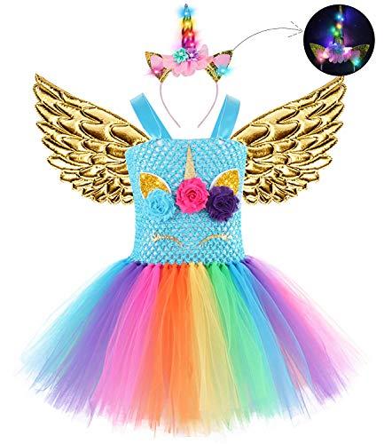 3PCS Baby Girls Unicorn Dress with Wings LED Headband Princess Birthday Party Costume Tutu Dress for Girls 1-12Y]()