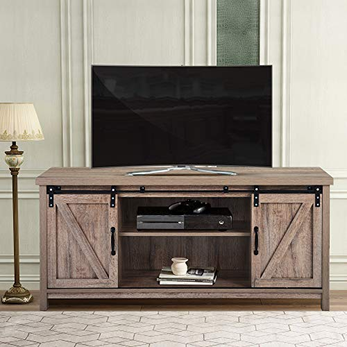 USINFLY Sliding Barn Door TV Stand Console,Modern Studio Entertainment Center Up to 50 Inches TV for Living Room