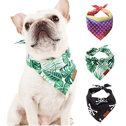 - CheeseandU 3Pack Pet Bandanas for Small Dogs Cats Cute Novelty Tropical Leaf Mermaid Skull Printed Soft Triangle Bibs Scarf Collar Accessory for Pet Holiday Party Birthday Halloween Costume