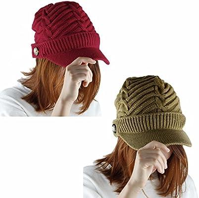 ca5f5768b Samtree Womens Beanie Hat with Visor,Winter Warm Cable Knit Ski Cap ...