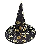 Richboom Halloween Witch Hats Costumes for Kids and Adults, Cosplay Party Accessory Costume Wizard Hats (Golden)