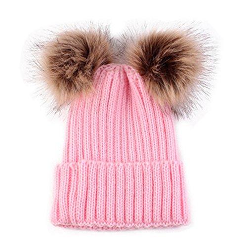 cbeffff043c0fa HMILYDYK Fashion Knitted Ribbed Winter Beanie Bobble Hat Soft Twin Faux Fur Pom  Pom Ski Beret