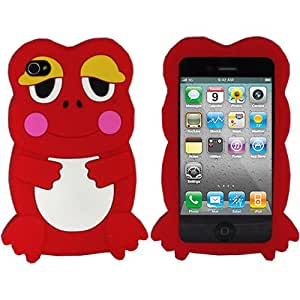 ASleek Red Cute 3D Frog Silicone Design Case Cover for Apple iPhone 4 / 4S