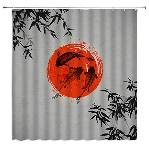 jingjiji Japanese Ink Shower Curtain Koi Sun Bamboo Forest Abstract Art Landscape Painting Bathroom Decoration Curtains Polyester Fabric Waterproof with Hook 70 X 70 Inch Gray