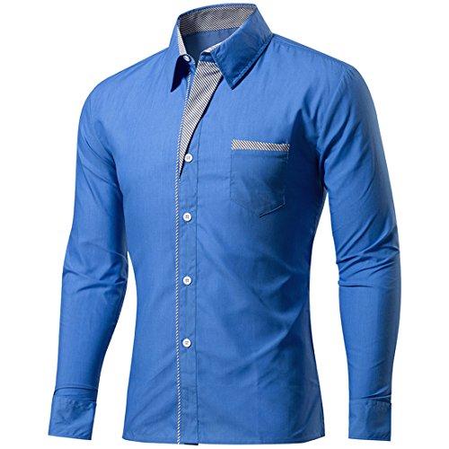 Per Casual Sidiou Slim Lunghe Cielo Down Blu Uomo Da Lunga Formale Fit Button Group Camicia Lavoro Camicie Maniche Manica 4qaEwpna