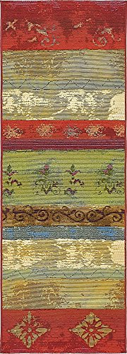 Unique Loom Outdoor Modern Collection Colorful Striped Botanical Transitional Indoor and Outdoor Flatweave Multi  Runner Rug (2' x 6') from Unique Loom