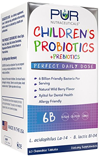 Children's Probiotic * 6 Billion CFUs/Serving * 60 Chewable Tablets * 2 Month Supply * 100% All Natural * Made in USA * Recommended and Safe for Everyday Use