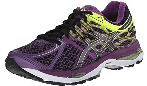 ASICS Women's Gel Cumulus 17 G TX Running Shoe, Plum/Onyx/Flash Yellow, 5.5 M US