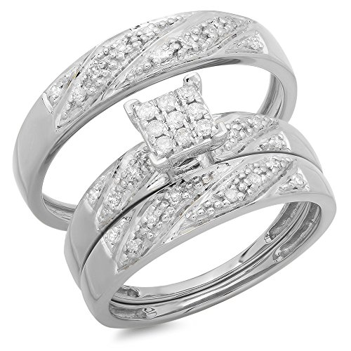 0.30 Carat (ctw) 10K Gold Round White Diamond Men & Women's Cluster Engagement Ring Trio Set 1/3 CT