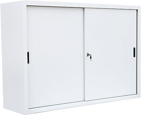 Mobile Ufficio Con Ante Scorrevoli.Grande Bianco Armadio Metallico Armadietto Da Ufficio Con Ante