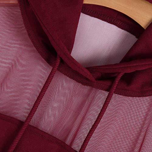 Manche Transparente Imprission Shirt Hoodie Florale Rouge Longue Lettres Pull Rayures SANFASHION Mode Sweat Chic 2 Femme Vetement Vin Ananas Gaze wHgqWI