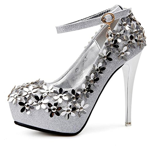 High Tacones Bride Ladies Crystal Womens Bridesmaid New Artificial Aguja De Linyi Silver Shoes Heel Platform Ygc4twY0q