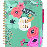"""Planner 2018 & 6 Color Pens Purse-Size 9""""x7.5"""", Hardcover Notebook Personal Organizer Daily, Weekly, Monthly Calendar Agenda Planner Great Gift for Girls, Moms, Teachers and Students"""