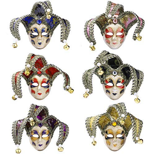 YU FENG Mini Masquerade Mask 6pcs Set Small Mardi Gras Halloween Party Costume Accessory(9) -