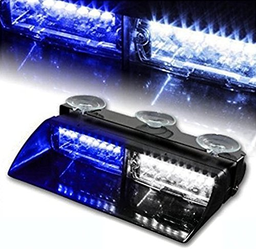 WoneNice 16 LED High Intensity LED Law Enforcement Emergency Hazard Warning Strobe Lights 18 Modes for Interior Roof/Dash/Windshield with Suction Cups - Strobe Blue