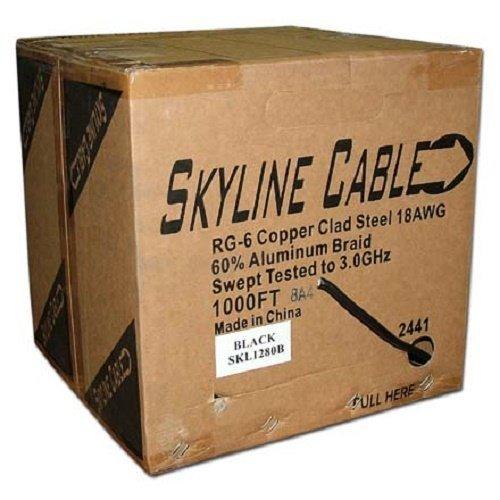 Skyline Rg-6 Single Coax, Ccs, 1000ft, Black