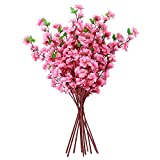 Soledi Artificial Peach Bouquet 10 Bunch Blossom Flower for Home Office Decor Pink