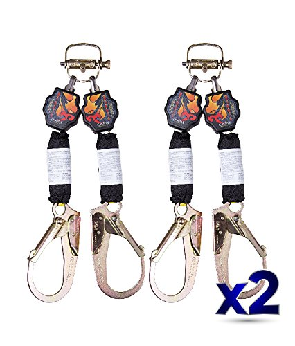 Guardian Fall Protection 11054 Diablo Double Self Retracting Lifeline Kit with Steel Rebar Hooks and Ring of Fire with Dual Lock Twist Release Bracket, 6-Feet, Pack Of 2