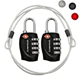 2 Pack Lumintrail TSA Approved All Metal International Travel Luggage 4 Digit Resettable Combination Lock with 4-ft Steel Cable for Suitcase and Baggage - Assorted Colors (Black (2 pack))