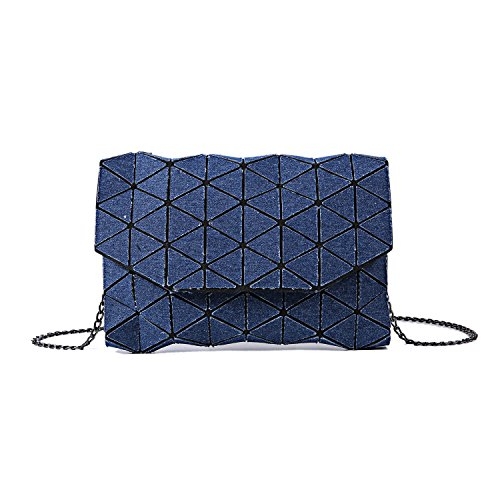 Lattice Shard Canvas Geometric Clutch Bag Bag Denim Blue Handbag Shoulder Navy 1nARxIApq