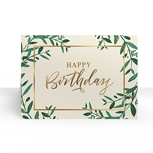 Pack of 25 Wall Street Greetings Premium Gold Foil Greenery 5x7 fold over Greeting card with 25 Ivory Peel & Seal gold foil lined envelopes (Envelopes Ivory Gold Foil)