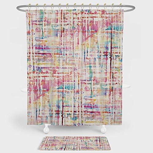 Watercolor Shower Curtain And Floor Mat Combination Set Cool Abstract Scattered Colors in Expressionist Manners Modern Painting Art Decorative For decoration and daily use Multicolor ()