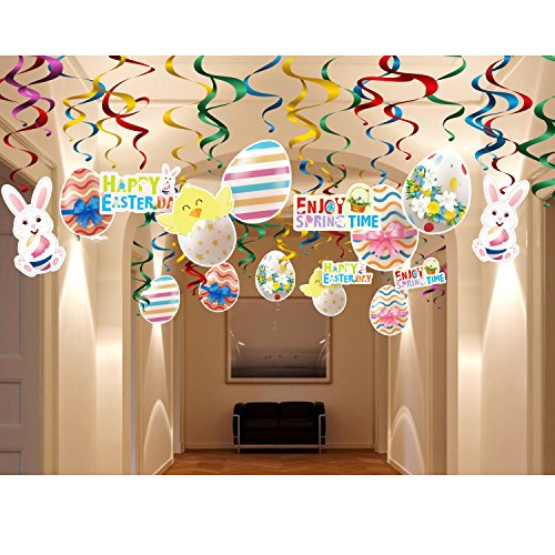 Happy Easter Chick (Happy Easter Day Party Decoration and Supplies Kit-30pcs Foil Swirl Ceiling Hanging,Bunny,Egg,Chick,Basket,Flowers Ornament for Home,Office,Dangling Spring Party Décor Whirl Streamer)