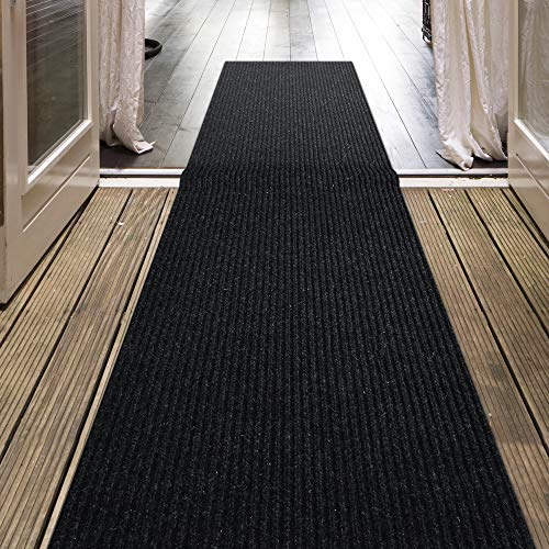 iCustomRug Indoor/Outdoor Utility Ribbed Carpet Runner and Area Rugs in Dark Charcoal, Many